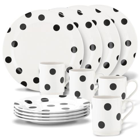Kate Spade  Deco Dot Black 12 Piece Dinnerware Set $130.00