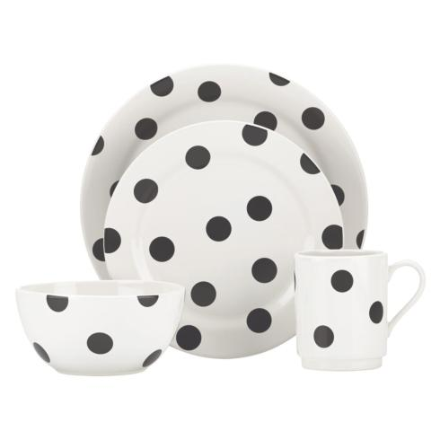 Kate Spade  Deco Dot Black Dinnerware 4 Piece Place Setting $40.00