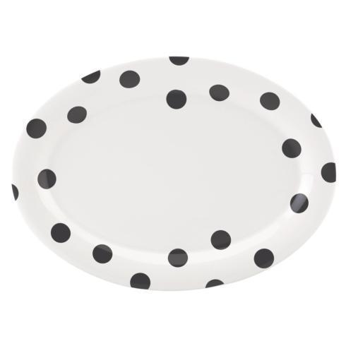 Kate Spade  Deco Dot Black Dinnerware Oval Platter, 14