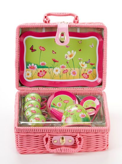 Daisies Tea Party Set, 15 Pieces in Basket