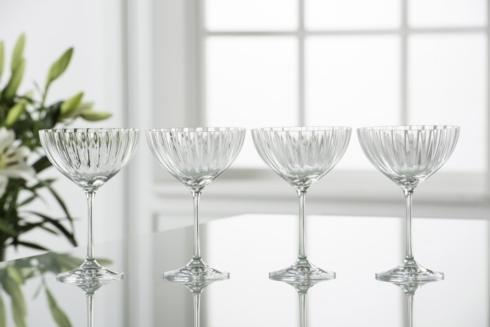 Galway Irish Crystal  Erne Stemware & Barware Erne Saucer Champagne / Dessert Glasses, Set of 4 $40.00