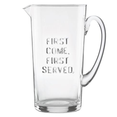 "Kate Spade  Deco Dot Glassware ""First Come, First Served"" Pitcher $40.00"