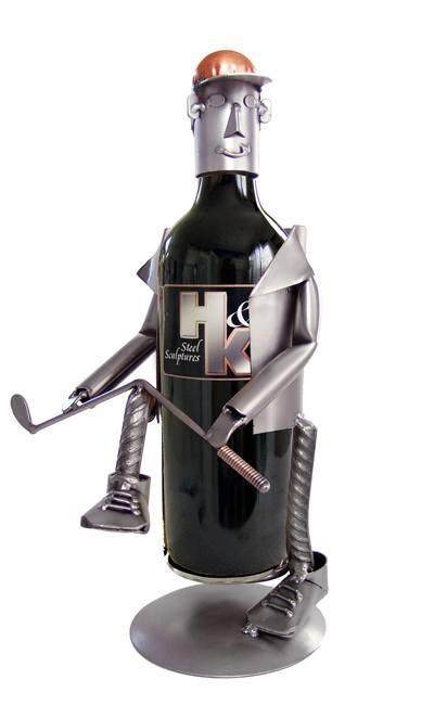 H & K Steel Sculptures  Steel Sculpture Wine Bottle Holders Golf Frustration Bottle Holder $88.00