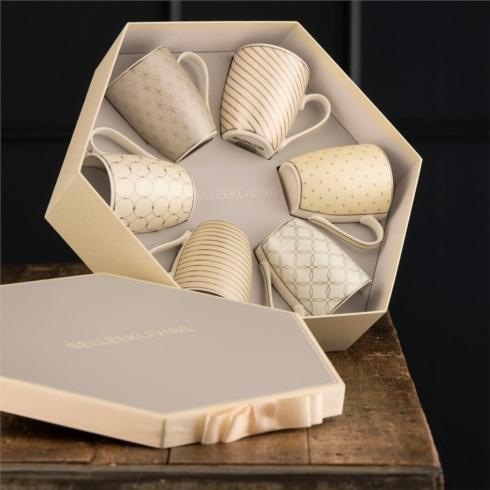 $40.00 Geometric Pastles Set of 6 Mugs in Hexagon Box
