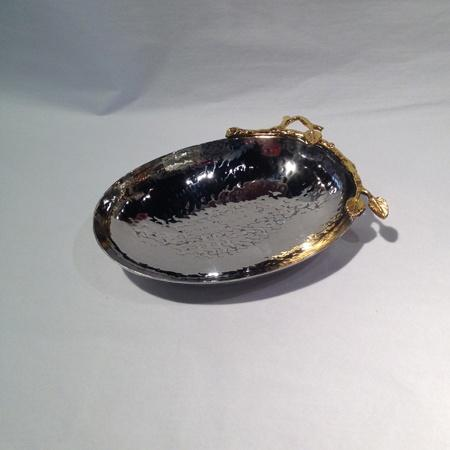 Elegance by Leeber  Golden Vine Hammered Oval Nut Bowl $17.00