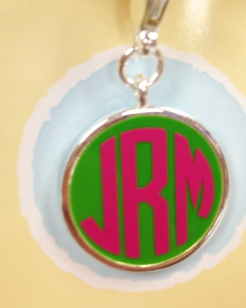 $28.00 Monogrammed Green Enamel Silver Disc
