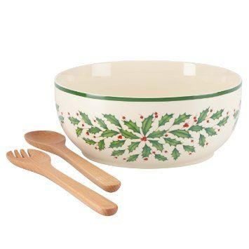 Lenox  Holiday Dinnerware Salad Bowl with Wood Servers $50.00
