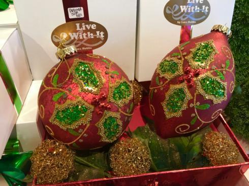 $34.95 Holly Beaded Glass Ornaments, Asst. Set of 2