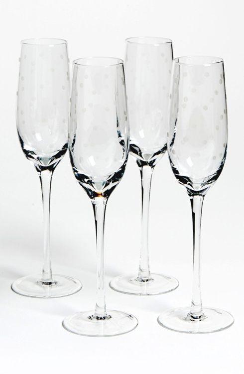 Kate Spade  Larabee Dot Barware Champagne Flutes, Set of 4 $50.00