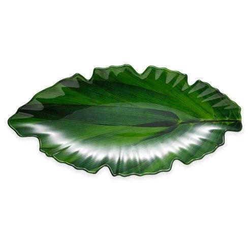 Q Squared  Zen Melamine Serving Pieces Large Green Leaf Platter $50.00