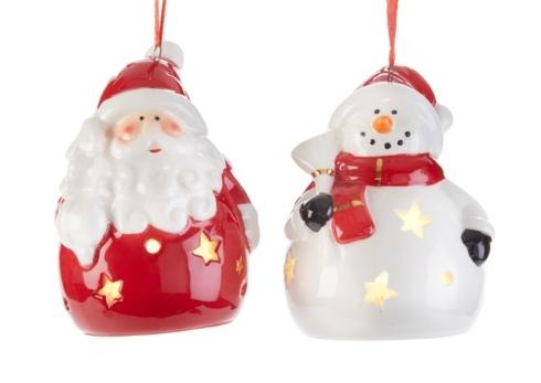 $18.00 Light Up Santa and Snowman Ornament