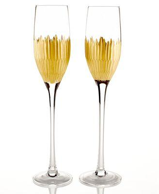 Marchesa by Lenox  Imperial Caviar Gold Glassware Champagne Flutes, Set of 2 $75.00
