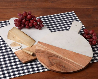 Live With It by Lora Hobbs Exclusives   Wood and Marble Cheese Board $55.00