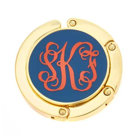 $30.00 Monogrammed Navy Purse Hook with Red Monogram