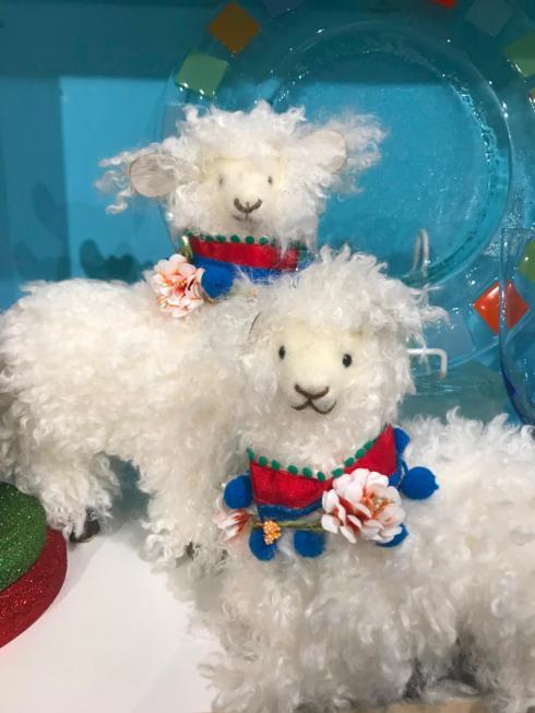 $30.00 Pair of Woolly Holiday Lamas