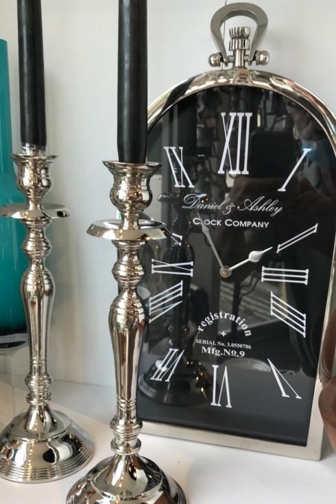 "$70.00 Polished Steel 15.5"" Table clock"