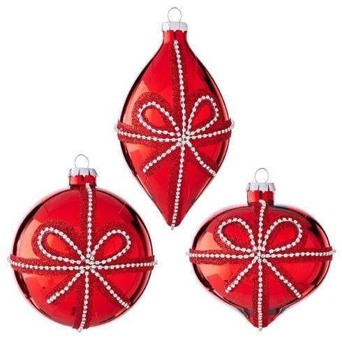 Silver Gem Bows on Red Glass Ornaments, Assorted Set of 3