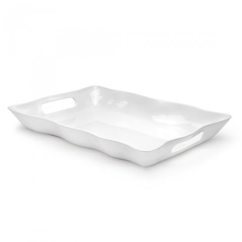 Q Squared  Ruffle White Rectangular Handled Serve Tray $50.00