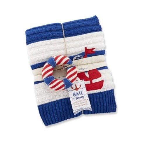 """$42.00 """"Sail Away"""" Classic Knit Cable Blanket and Rattle"""