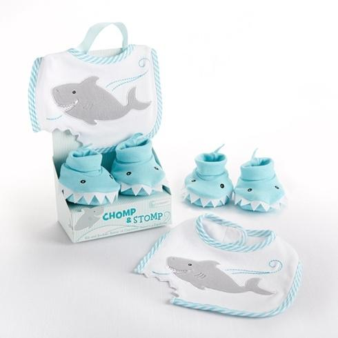 $20.00 Shark Chomp & Stomp Bib & Booties