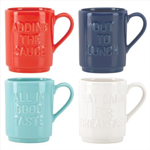 Kate Spade  Pretty Pantry Mugs, Accent & Appetizer Plates and Canisters Solid Stacking Mugs, Set of 4 $40.00
