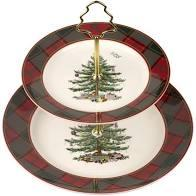 Live With It by Lora Hobbs Exclusives  Spode Christmas Tree Tartan 2 Tiered Server $40.00