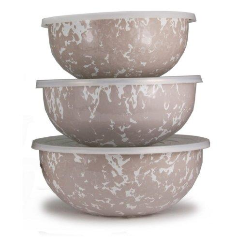 Golden Rabbit  Taupe Swirl Mixing Bowls $76.00