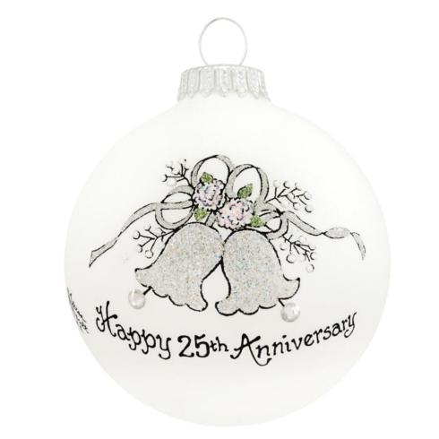 $22.00 Happy 25th Anniversary Ornament --- with Swarovski Crystal