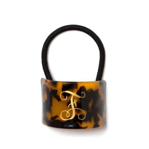 $28.00 Monogramed Tortoise Crescent Hairtie with Gold Monogram