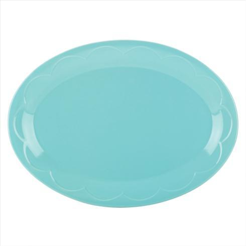Kate Spade  Sculpted Scallop Dinnerware Turquoise Oval Platter, 14
