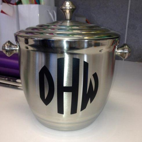 $85.00 Metal Ice Bucket with Custom Monogram