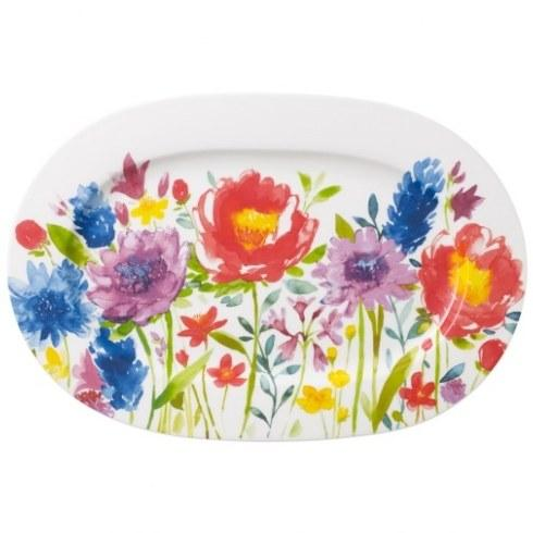 Villeroy & Boch  Anmut Flowers Oval Platter / Serving Tray, 13.25