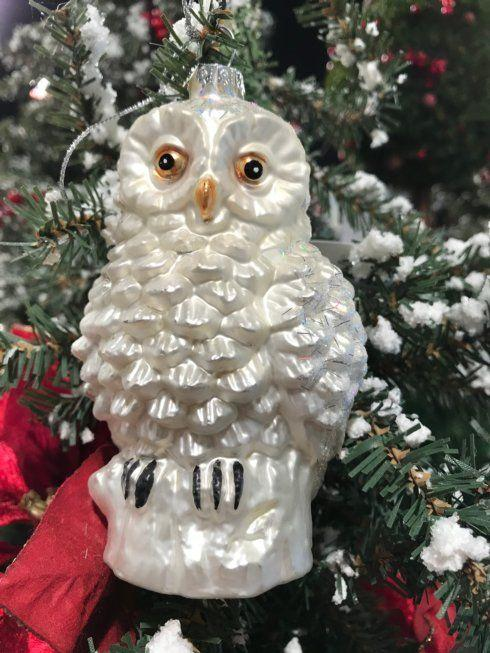 $12.00 White Frosted Owl ornament