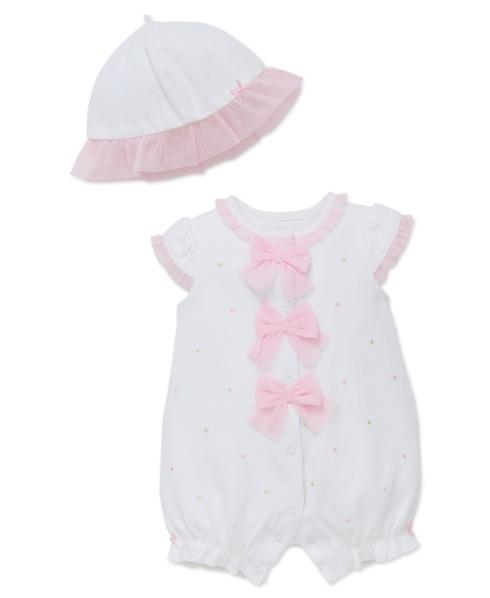 $20.00 White Multi Dot Romper with Hat, 9 Months