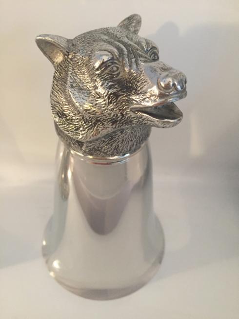 $198.00 Large Mirror Finish Bear Stirrup Cup 8 oz.