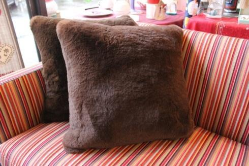 "$245.00 Chocolat Faux Fur Pillow 18""x18"" - Evelyne Prélonge"