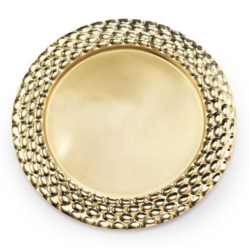 "$140.00 Brass Round Serving Tray 13"" D"
