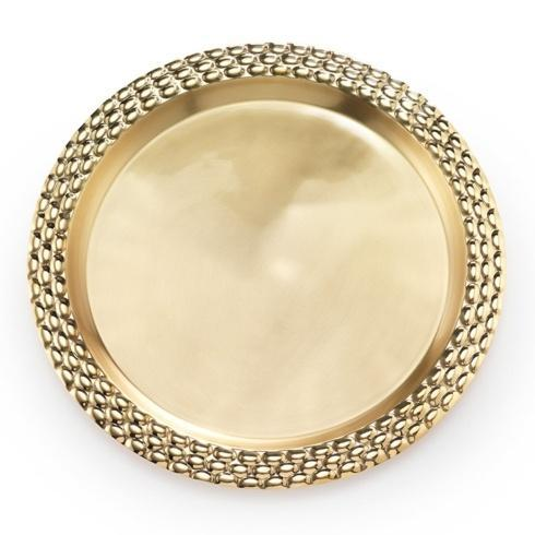 "$245.00 Brass Round Serving Tray 17"" D"