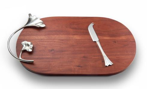 $105.00 Wood Oval Tray w/ Knife