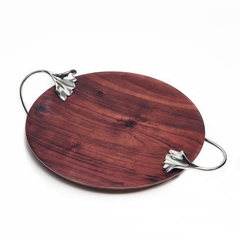 $120.00 Wood Shallow Platter  w/Leaf Handles