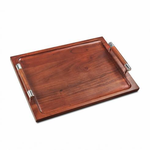 "$105.00 Wood Tray w/ Handles 17"" x 12"" x 2"""