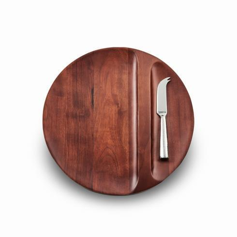 "$100.00 Divided Wood Tray w/Knife 13"" D x 1"" H"