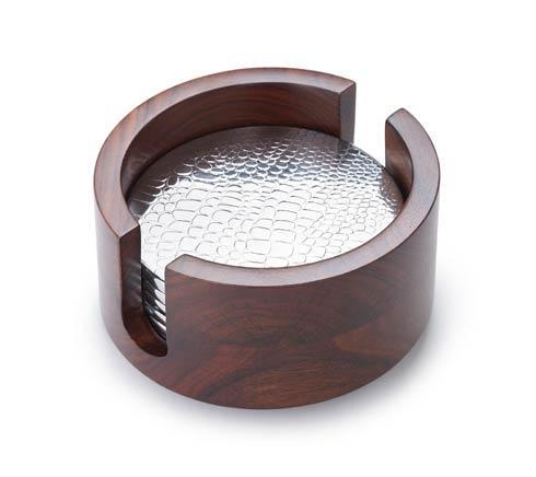 Ind.Rosewood 6 pc Croc Coaster Set