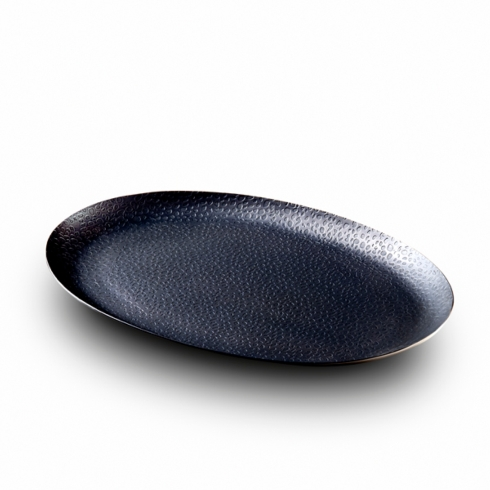 $60.00 Oval Tray w/ Black Nickel Plating