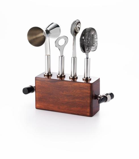 "$140.00 Bar Set w/ Wood & Buffalo Horn 8¼ x 3½"" x 8"" H"