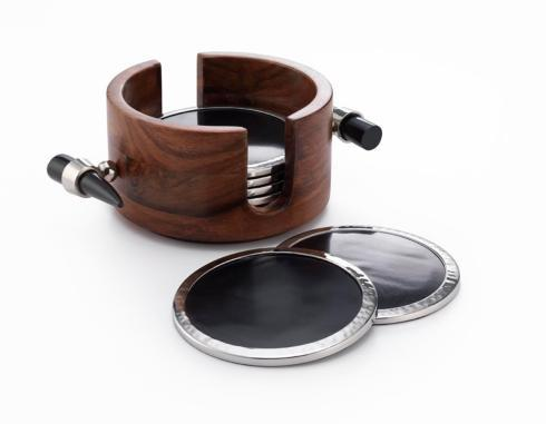 Coaster Set w/Wood & Buffalo Horn  7¼