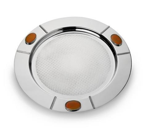 Round Serve Tray w/Carnelian Stone