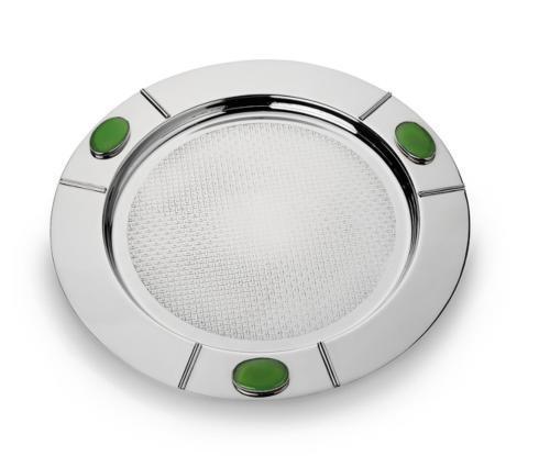 Round Serve Tray w/Green Onyx Stone