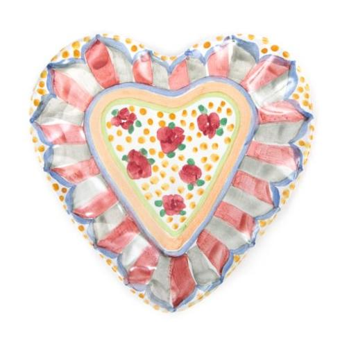 MacKenzie-Childs  Taylor Ceramics Taylor Heart Plate - Cabbage Rose $88.00