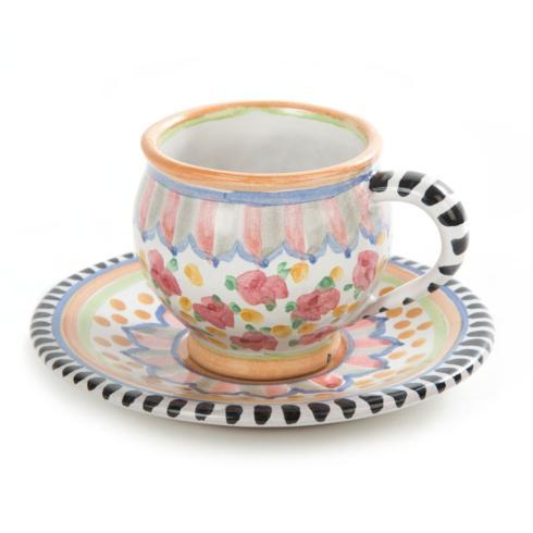 MacKenzie-Childs  Taylor Ceramics Taylor Espresso Cup & Saucer - Cabbage Rose $135.00